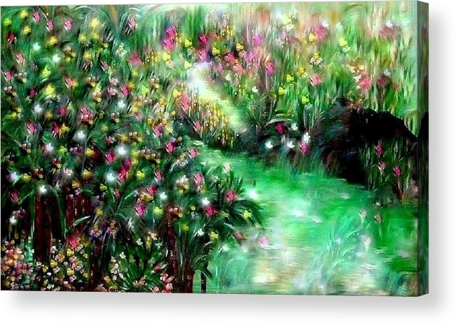 Garden Acrylic Print featuring the painting The Magical Garden by Sherri's - Of Palm Springs