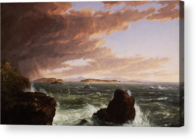 Stormy Weather Acrylic Print featuring the painting View Across Frenchman's Bay From Mt. Desert Island After A Squall by Thomas Cole