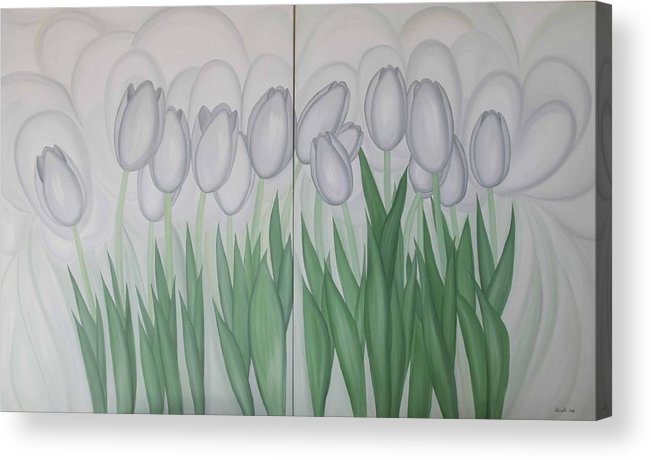 Marinella Owens Acrylic Print featuring the painting White Tulips by Marinella Owens