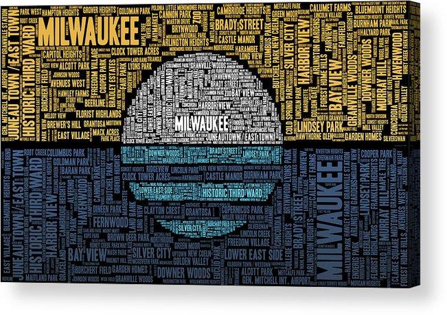 Word Cloud Acrylic Print featuring the digital art Milwaukee Neighborhood Word Cloud by Scott Norris