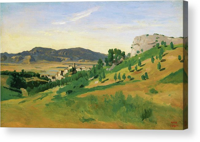 View Of Olevano Acrylic Print featuring the painting View Of Olevano - Digital Remastered Edition by Jean-Baptiste Camille Corot