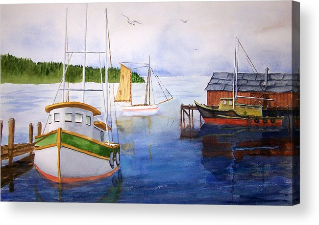 Puget Sound Acrylic Print featuring the painting After The Fishing Is Done by Robert Thomaston