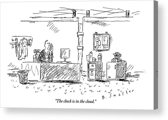 Computers Acrylic Print featuring the drawing A Man In An Office by Barbara Smaller