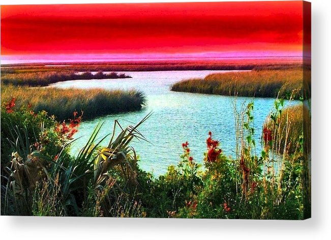 Crimson Acrylic Print featuring the photograph A Sunset Crimsoned by Julie Dant