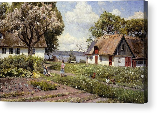 1930s Acrylic Print featuring the painting Children In A Farmyard by Peder Monsted