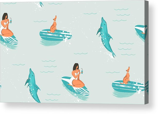 Hand Drawn Vector Abstract Cute Summer Time Cartoon Illustrations Seamless Pattern With Surfer Swimming Girl And Dolphins In Blue Ocean Water