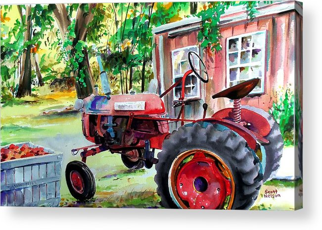 Hawk Hill Acrylic Print featuring the painting Hawk Hill Apple Tractor by Scott Nelson