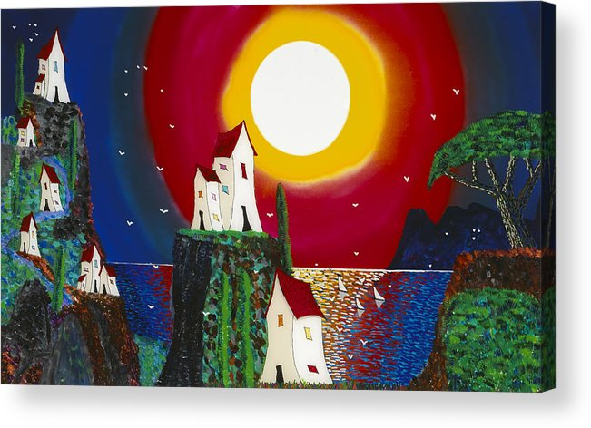 Abstract Acrylic Print featuring the painting Idyllic Village by Patrick OLeary