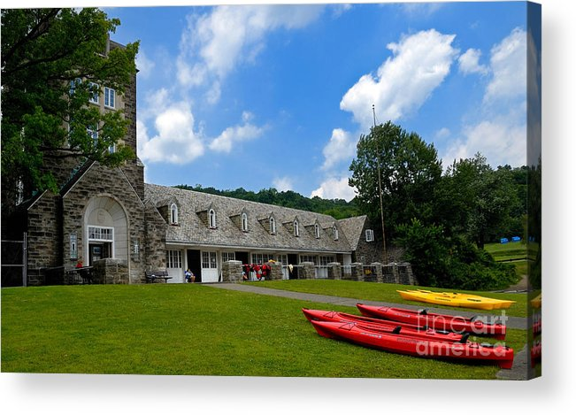 2 Seat Acrylic Print featuring the photograph Kayaks At Boat House by Amy Cicconi