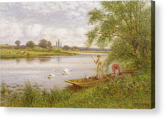Swans Acrylic Print featuring the painting Ladies In A Punt by Arthur Augustus II Glendening