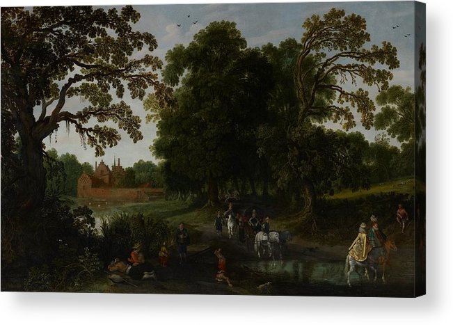 Landscape Acrylic Print featuring the painting Landscape With A Courtly Procession Before Abtspoel Castle by Esaias I van de Velde