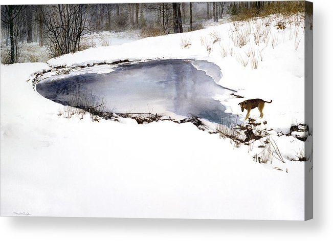 Winter Acrylic Print featuring the painting Moses On Ice by Tom Wooldridge