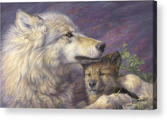 Wolf Acrylic Print featuring the painting Mother's Love by Lucie Bilodeau
