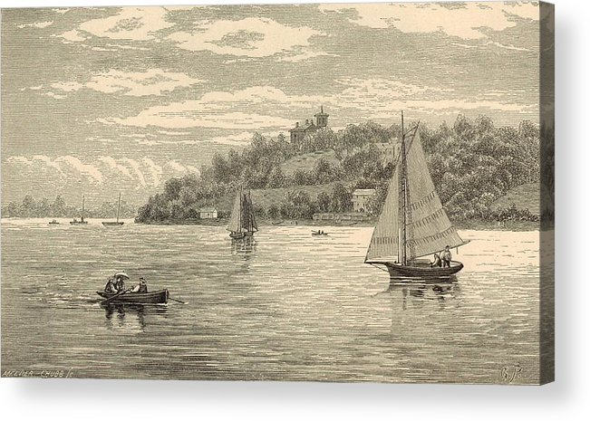 Vintage Acrylic Print featuring the painting Mouth Of The Shrewsbury River 1872 Engraving by Antique Engravings