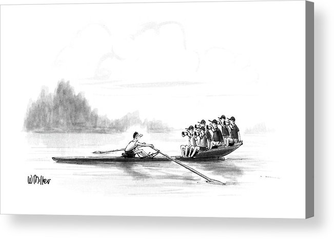 (a Man Rows A Boat By Himself Acrylic Print featuring the drawing New Yorker May 28th, 1990 by Warren Miller
