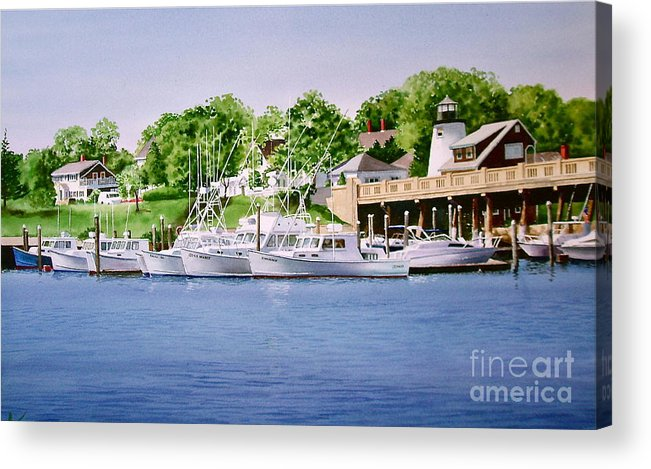 Trees Acrylic Print featuring the painting Packet Landing by Karol Wyckoff