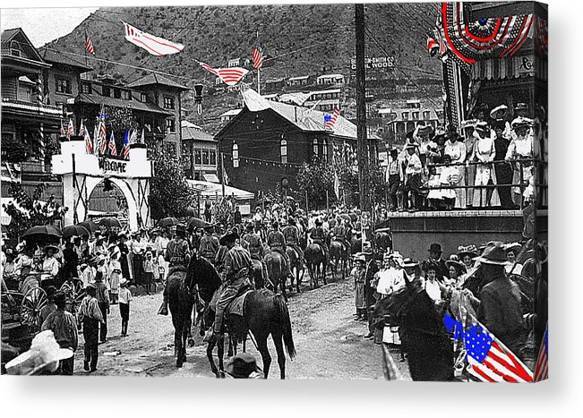Parade Bisbee Arizona July 4th 1909 Color Added 2013 Acrylic Print featuring the photograph Parade Bisbee Arizona July 4th 1909 Color Added 2013 by David Lee Guss
