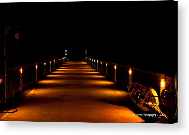 Pier Acrylic Print featuring the photograph Pier Night Lights by Volker blu Firnkes