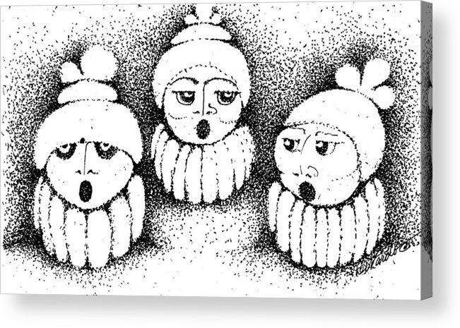 Design Acrylic Print featuring the drawing Sisters In Harmony by Joy Bradley