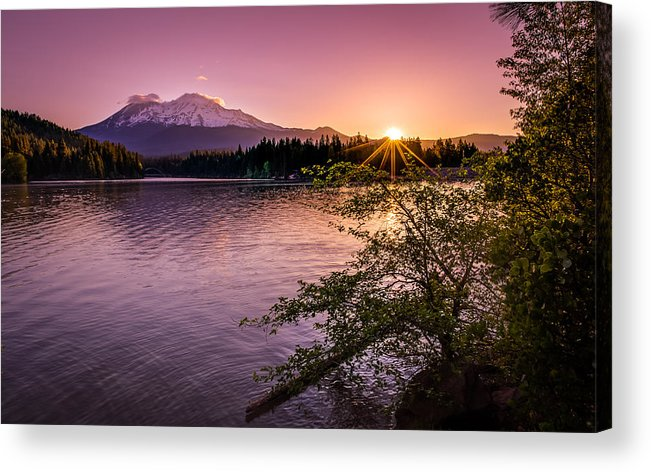 California Acrylic Print featuring the photograph Sunrise Over Lake Siskiyou And Mt Shasta by Scott McGuire