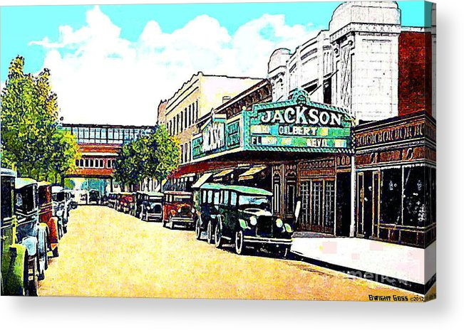 Queens Ny Acrylic Print featuring the painting The Jackson Theatre In Jackson Hts. Queens N Y In 1930 by Dwight Goss