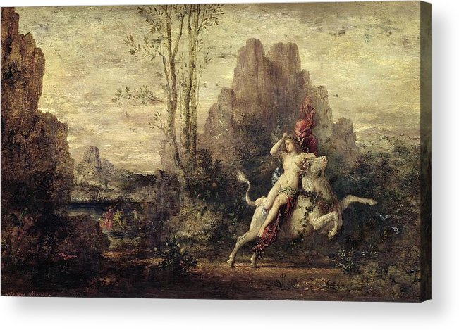 Metamorphosis; Zeus; Landscape; Symbolist; Female; Nude; Abduction; Abducted; Enlevement; Europe Acrylic Print featuring the painting The Rape Of Europa by Gustave Moreau