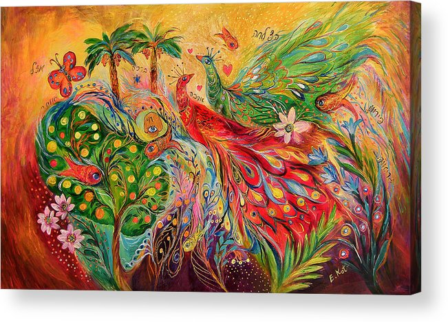 Original Acrylic Print featuring the painting The Tree Of Desires by Elena Kotliarker