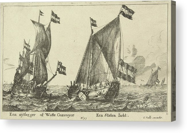 Sailing-ship Acrylic Print featuring the drawing Two Ships A Statenjacht And An Interpreter by Anonymous And Reinier Nooms And Gerard Valck