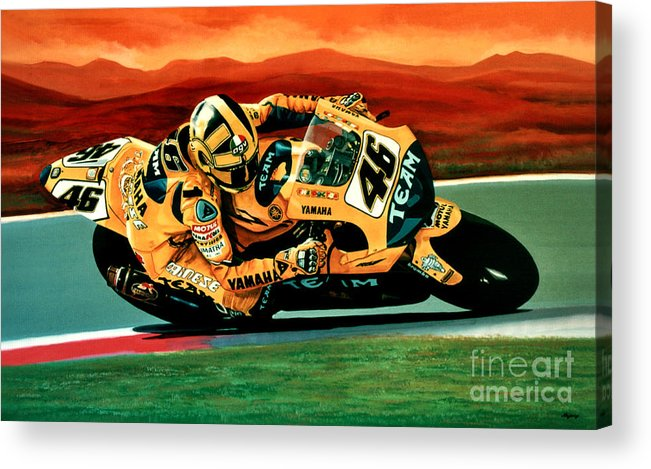 Valentino Rossi Acrylic Print featuring the painting Valentino Rossi The Doctor by Paul Meijering