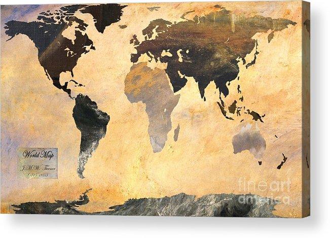 World Map Acrylic Print featuring the digital art World Map  Turner 1 by John Clark