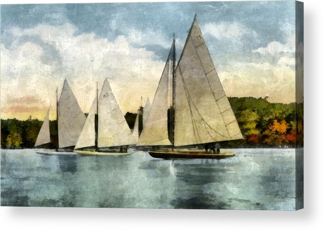 Sailboats Acrylic Print featuring the digital art Yachting In Saugatuck by Michelle Calkins