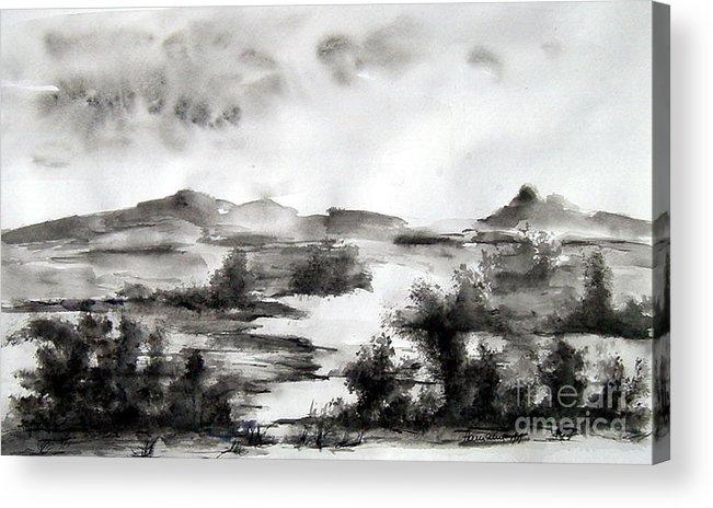 Landscape Acrylic Print featuring the painting Black by Natasa Dobrosavljev