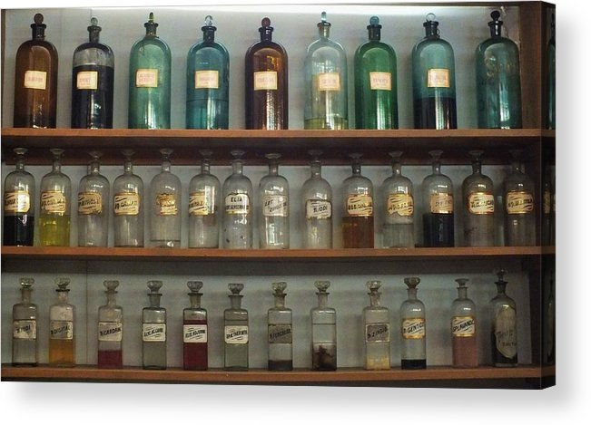 Antique Bottles Acrylic Print featuring the photograph Apocethary Jars by Anna Villarreal Garbis