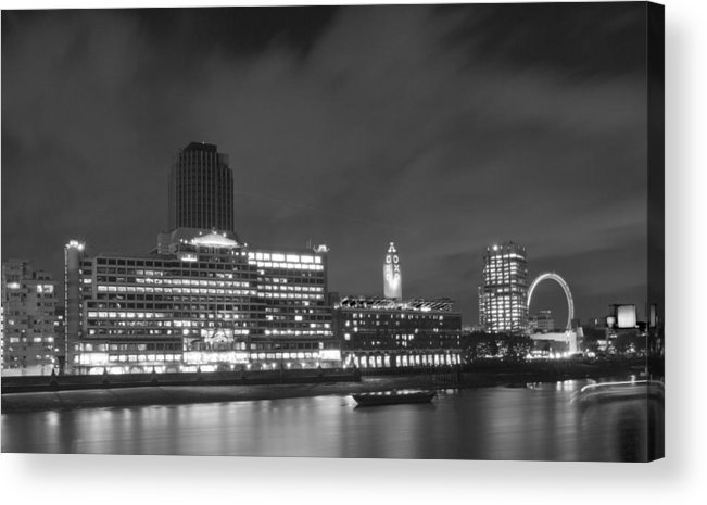 Oxo Acrylic Print featuring the photograph Oxo Tower Night Bw by David French