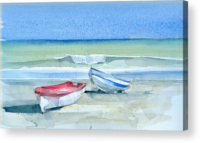 Sea Acrylic Print featuring the painting Sabinillas Fishing Boats by Stephanie Aarons