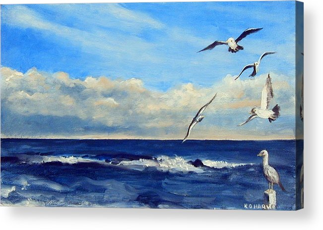 Sea Gull Acrylic Print featuring the painting Sea Gulls by Robert Harvey