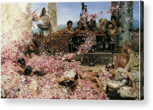 Lawrence Alma-tadema Acrylic Print featuring the painting The Roses Of Heliogabalus by Lawrence Alma-Tadema