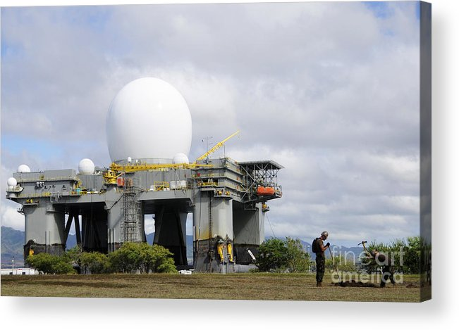 Hawaii Acrylic Print featuring the photograph The Sea Based X-band Radar, Ford by Stocktrek Images