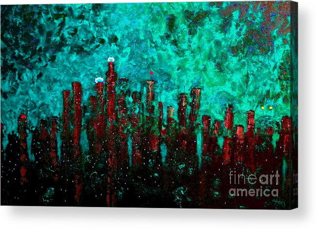 Cityscapes Acrylic Print featuring the painting Aquatic Angel by Chris Haugen