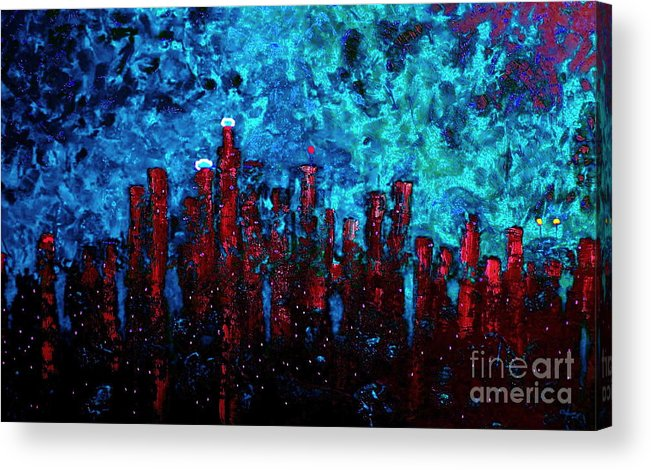 Cityscapes Acrylic Print featuring the painting Cerulean Angel by Chris Haugen