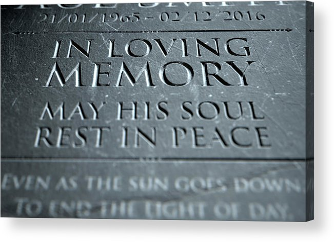 3d Render Acrylic Print featuring the digital art Gravestone In Loving Memory by Allan Swart