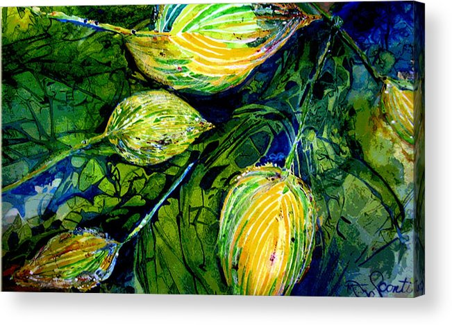 Leaves Acrylic Print featuring the painting Indriel Blue Hosta by Mary Sonya Conti