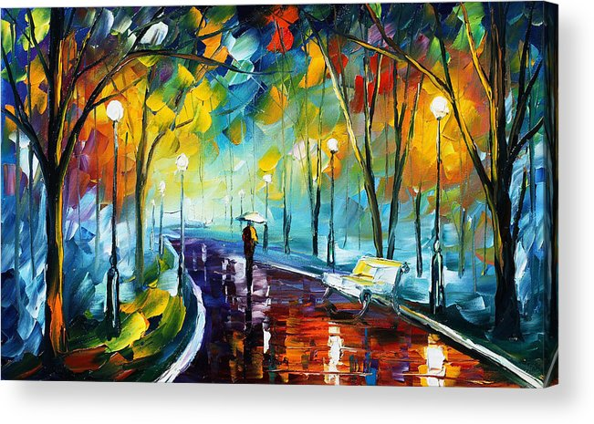 Afremov Acrylic Print featuring the painting Night Park by Leonid Afremov