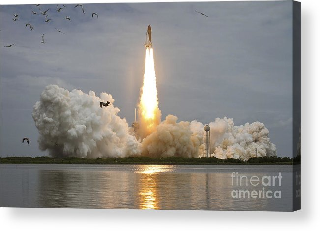 Atlantis Acrylic Print featuring the photograph Space Shuttle Atlantis Lifts by Stocktrek Images