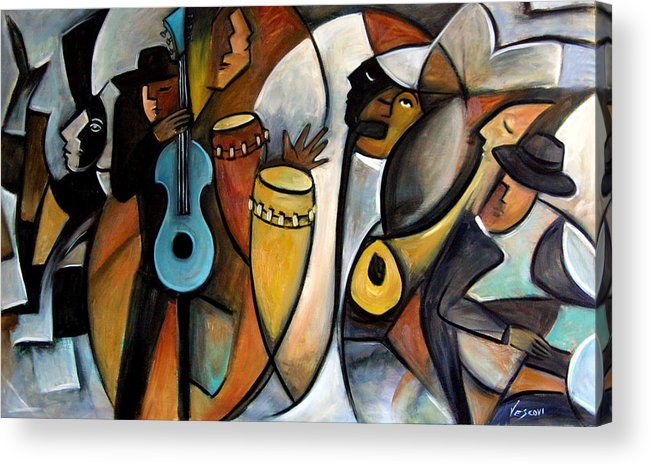 Latin Jazz Musicians Acrylic Print featuring the painting Jazzz by Valerie Vescovi