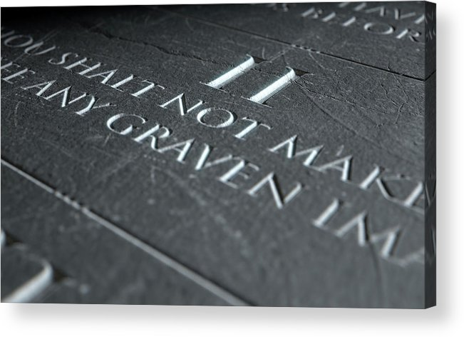Stone Acrylic Print featuring the digital art The Second Commandment by Allan Swart