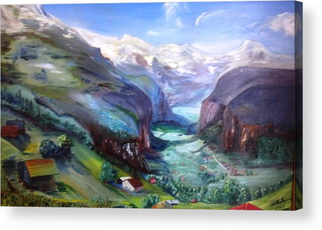 Swiss Alps In Summer Mountainscape Acrylic Print featuring the painting A Place Touched By God by Alfred P Verhoeven