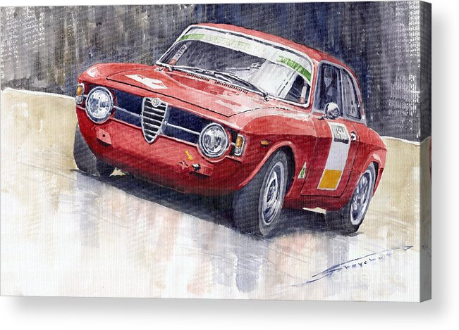Watercolor Acrylic Print featuring the painting Alfa Romeo Giulie Sprint Gt 1966 by Yuriy Shevchuk