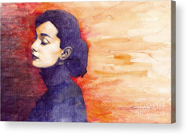 Watercolour Acrylic Print featuring the painting Audrey Hepburn 1 by Yuriy Shevchuk