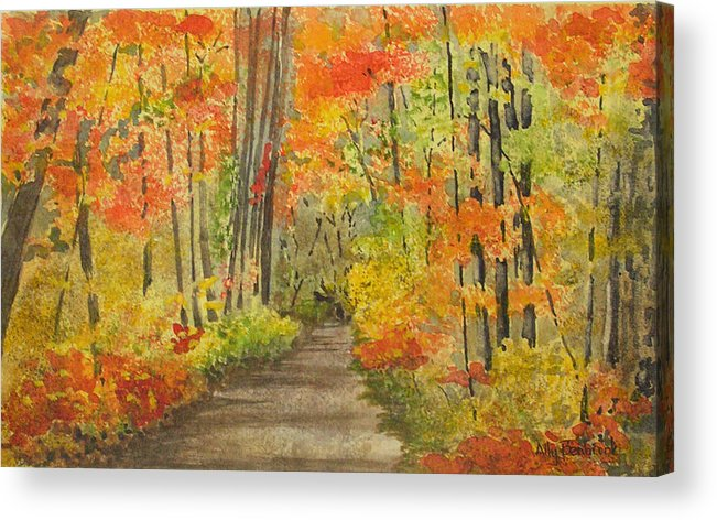 Autumn Acrylic Print featuring the painting Autumn Woods by Ally Benbrook